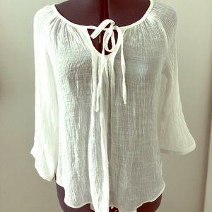 Boho Boutique White Long Sleeve Shirt